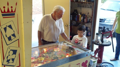 George and pinball machine