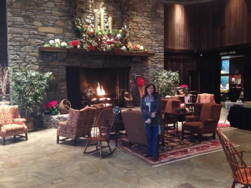 Pam at cove fireplace