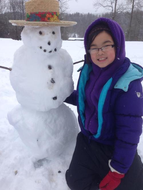 Clara and snowman